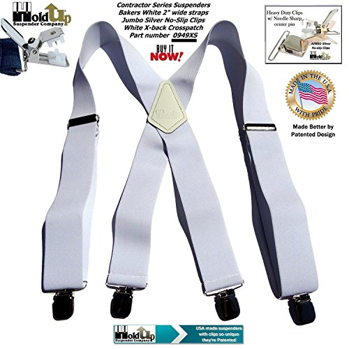 Contractor Series 2'' Wide Work X-back Suspenders in Bakers White with jumbo No-Slip Patented Clips by Hold-Up Suspender Co. (Image #3)