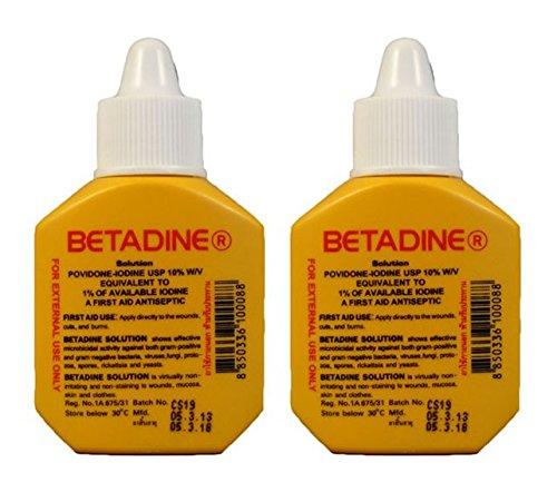 (BETADINE Solution First Aid Antiseptic POVIDONE-IODINE USP 10% 15cc 1/2oz x 2 Bottle )