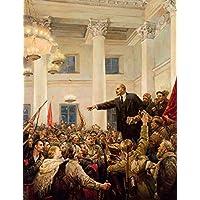 Lenin Proclama Poder Soviético de Vladimir Serov - 60x78 - Tela Canvas Para Quadro