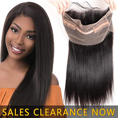Best 360 Swiss Lace Frontal Closure Pre Plucked With Full Baby Hair Unprocessed 9A Brazilian Indian Virgin Hair Extensions Real Cheap Malaysian Peruvian Human Hair Silky Straight One Piece 14 Inch