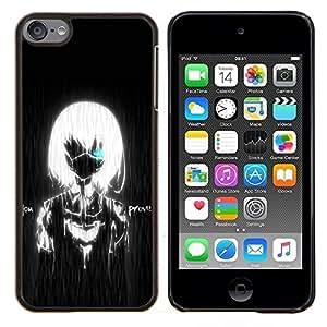 YiPhone /// Prima de resorte delgada de la cubierta del caso de Shell Armor - White Girl Negro Boy Lluvia Robot - Apple iPod Touch 6 6th Touch6