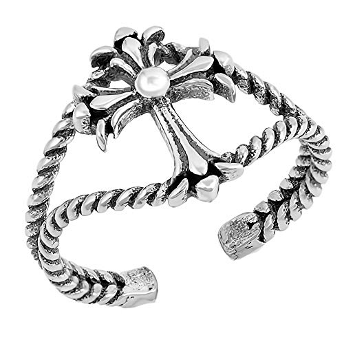 Glitzs Jewels 925 Sterling Silver Toe Ring for Women and Girls (Cross) | Cute Jewelry Gift
