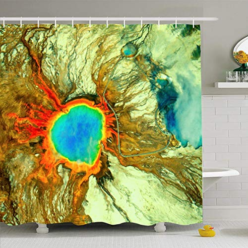 Ahawoso Shower Curtain 66x72 Inches Closeup Blue Volcano Bright Rainbow Colored Grand Prismatic Spring Nature Yellowstone Parks Aerial Waterproof Polyester Fabric Set with Hooks