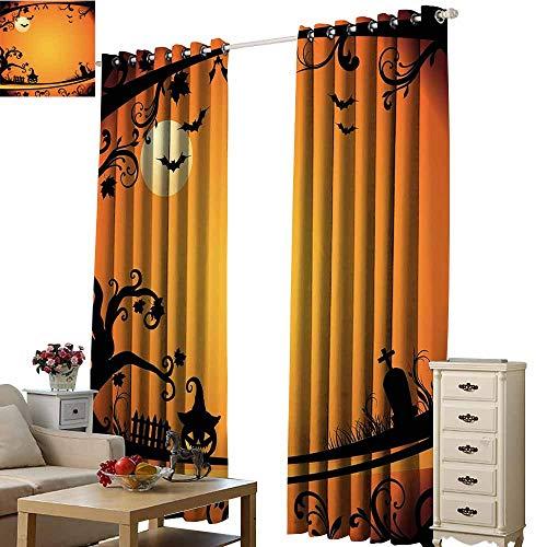 Warm Family Vintage Halloween Breathable Curtain Halloween Themed Image Eerie Atmosphere Gravestone Evil Pumpkin Moon Darkening and Thermal Insulating W84 x L108 Orange Black]()