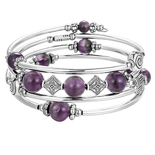 Beaded Bangle Wrap Amethyst Bracelet - Fashion Bohemian Jewelry Multilayer Charm Bracelet with Thick Silver Metal Beads for Women Girls Gifts (Purple) from Pearl&Club