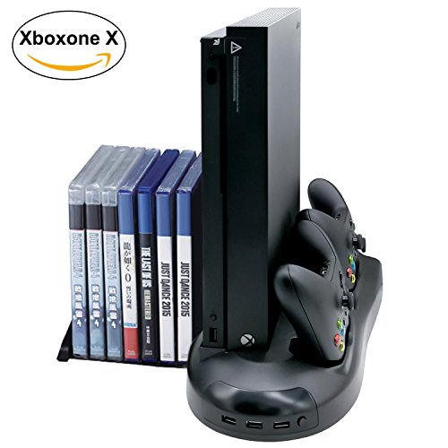 Xbox One X Games Multi-function Storage Rack, Controller Charger and Cooling Fan for Xbox One X with 3 USB Ports (ONLY FOR XBOX ONE X)