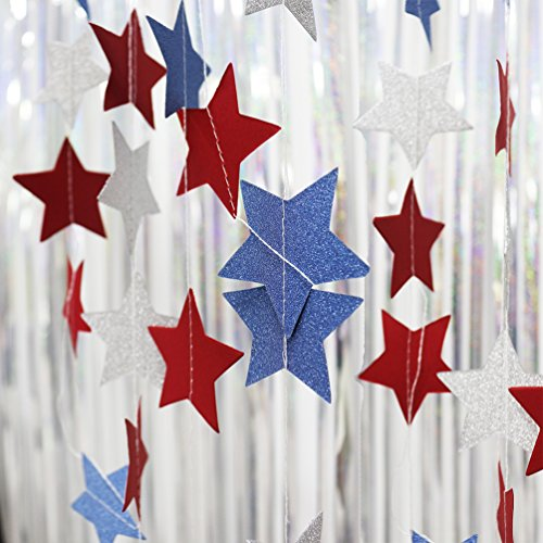 AZOWA Star Paper Garland white/blue/red For National Day/ patriotic activities/ 4th of July/ Wedding Decorations/ Baby Shower Set Of 4 28 ft