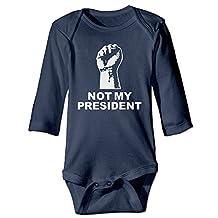 Not My President Hand Infant Long Sleeve Bodysuits Jumpsuit