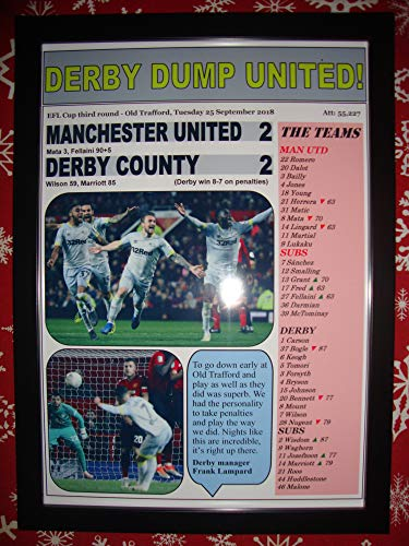 - Sports Prints UK Manchester United 2 Derby County 2-2018 League Cup - Framed Print