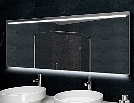 Specchio con cornice in alluminio illuminazione led cm