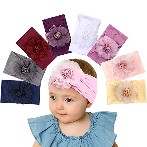 Bascolor Baby Girls Nylon Headbands Elastic Soft Bow Knot Turban Hairbands for Kids Toddler Newborn Infant Hair Accessories (8PCS-1) ()