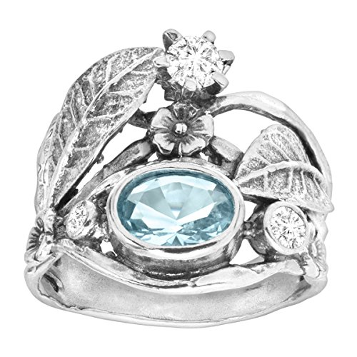 Silpada Natural Instincts 1 7 8 ct Blue White Cubic Zirconia Ring in Sterling Silver