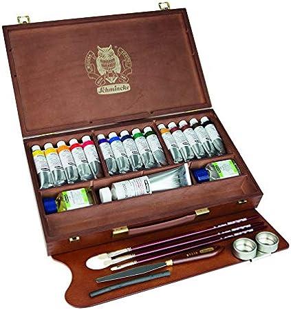 Schmincke Künstlerfarben., Mussini® Pintura al óleo Pinturas,, Caja de madera con 15 tubos de 35 ml, 1 x 150 ml blanco y accesorios: Amazon.es: Hogar