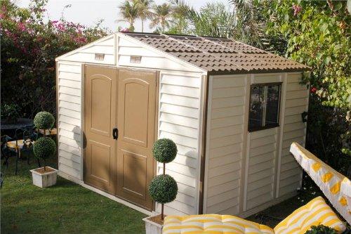Duramax woodside vinyl storage shed kit lawn for Garden shed uae