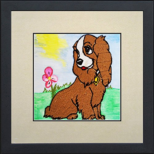 Needlepoint cross stitched painting of a dog
