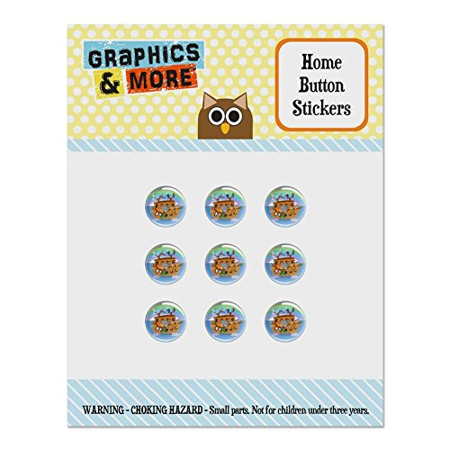 Noah's Ark with Animals Set of 9 Puffy Bubble Home Button Stickers Fit Apple iPod Touch, iPad Air Mini, iPhone 5/5c/5s 6/6s 7/7s Plus