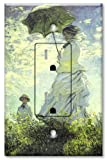 Printed - Tamper Resistant Electrical Outlet with matching Wall Plate - Monet: Woman with Parasol