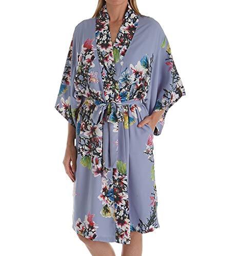 Charmeuse Womens Robe - Natori Women's Printed Charmeuse Robe, iris, M