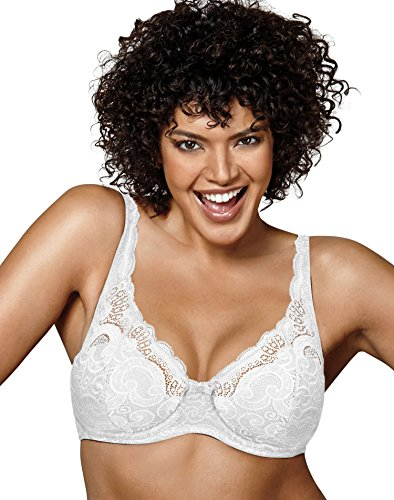 Playtex Women's Love My Curves Thin Foam with Lace Underwire, White, 44C by Playtex (Image #1)'