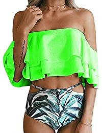 f5c3a0c37391b Women s Bikini Ruffle Off Shoulder Top   Floral Shorts Swimsuit Bathing Suit  2pc Sets