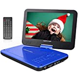 DBPOWER 12.5' Portable DVD Player with 5-Hour Rechargeable Battery, 10.5' Swivel Display Screen, SD Card Slot and USB Port, with 1.8 Meter Car Charger and Power Adaptor, Region Free- Blue