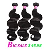 ULOVE HAIR Brazilian Virgin Hair Body Wave 3 Bundles Remy Human Hair 100% Unprocessed Hair Extensions Natural Color (12 14 16Inch)