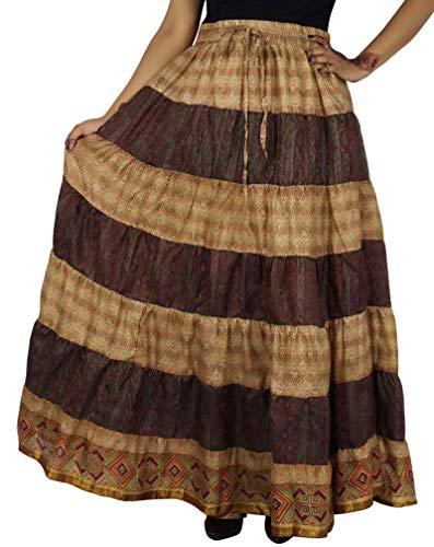 Falda 2 diseño Vestido De Puro Maxi Seda Indianbeautifulart Acampanada Multicolor Mujeres Largo wS7qpOnI
