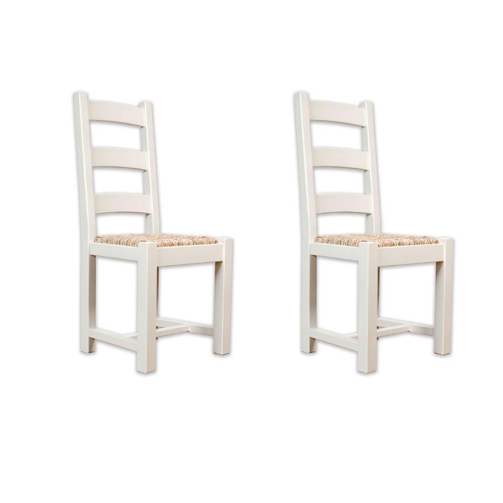 Gestrichene Möbel Avana farmhouse 2 Stühle Esstisch Eiche