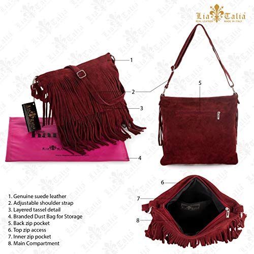 Leather Shoulder Size Bag LIATALIA Tassle Electric Womens Blue ASHLEY Suede Large Fringe qnfOE1BUO