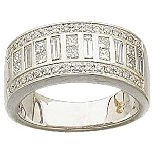 1 1/4 Ct.T.W. Sparkling Round, Baguette and Princess cut Diamonds, 14Kt. White Gold Anniversary Ring