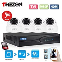 TMEZON 1080P HD-TVI + DVR Video Security System 4CH 1080P DVR with 4x HD 1920TVL 2.0 MegaPixels 2.8-12mm Weatherproof CCTV Camera and 1TB HDD
