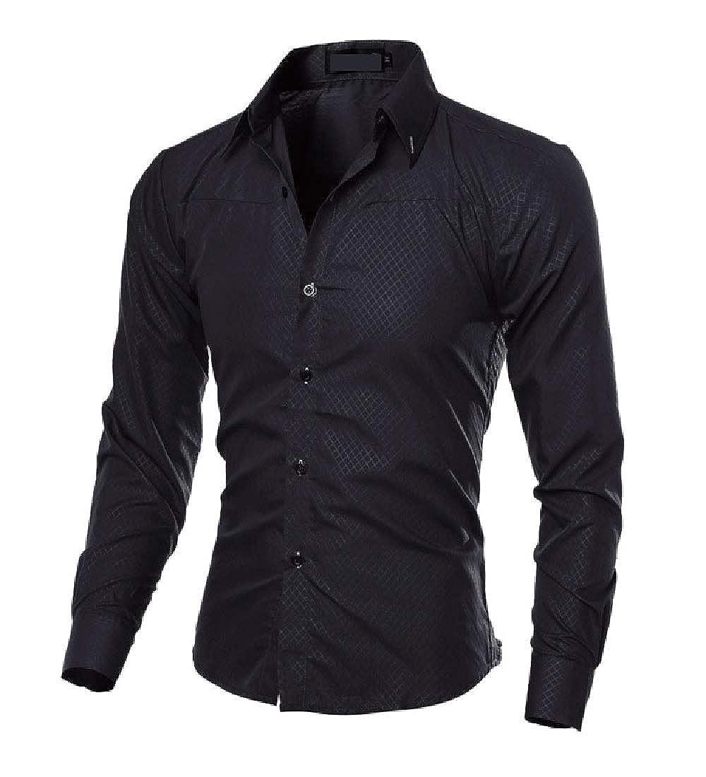 GodeyesMen Fashion Long-Sleeve Lapel Dark Floral Relaxed-Fit Cardi Western Shirt