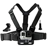 Chest Mount Harness for Gopro Hero 6 - 5 - Black - Session - Hero 4 - Session - Black - Silver - Hero+ LCD - 3+ - 3 - 2 - 1 – Fully Adjustable Chest Strap - Also Includes J-Hook Thumbscrew Storage Bag
