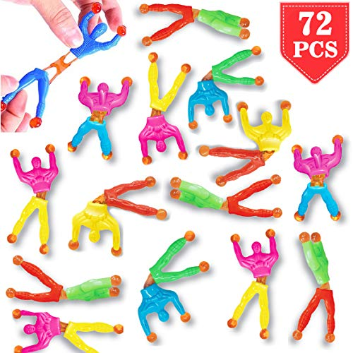 Liberty Imports Pack of 72 Sticky Stretchy Wall Climbers Window Crawlers - Party Favor Tricky Novelty Toys Climbing Rolling Men for Kids