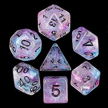 Juego de Dados de Alta definición de poliedros D&D para Dungeon and Dragons RPG Juegos de rol MTG Pathfinder Mesa Top Games Juego de 7 Dados Ceremonial Chorme: Amazon.es: Juguetes y juegos