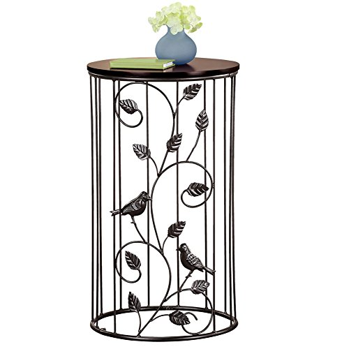 Round Wrought Iron Side Accent Table w/ Scrolling Vine Design & Wood Top (Round Wrought Iron)