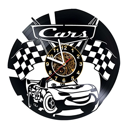 Cars - Vinyl Record Wall Clock - Decal - Sticker - Race cars - Room wall decor - Emblem - Gift ideas for boys and girls, friends, men and women, teens, children - Poster - Party - Gift for boys ()