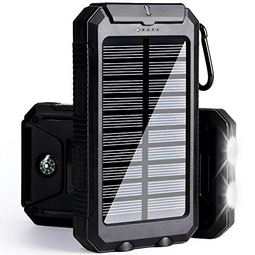 Solar Phone Charger Power Bank-10000 mAh Portable Power Bank Solar Battery Charger Dual USB Waterproof 2 Led Light Flashlight Compass Camping Outdoor Compatible iPhone, ipad, Samsung (Black)
