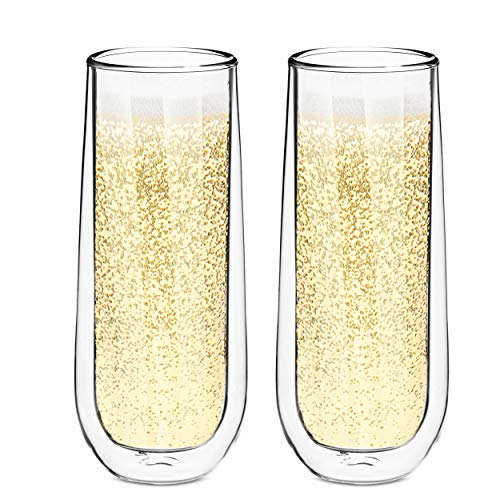Style Setter Double Wall Champagne Flutes - Set of 2 8.5oz Insulated Stemless Cocktail Glasses for Champagne, Wine, Spirits & Other Hot & Cold Drinks - Unique Gift Idea for - Champagne Wall Double
