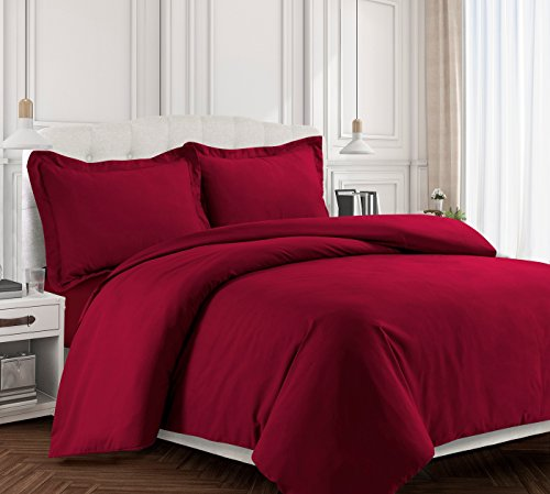 Tribeca Living VALENDUVETKIDR Valencia Solid Duvet Cover Set, King Deep Red,King