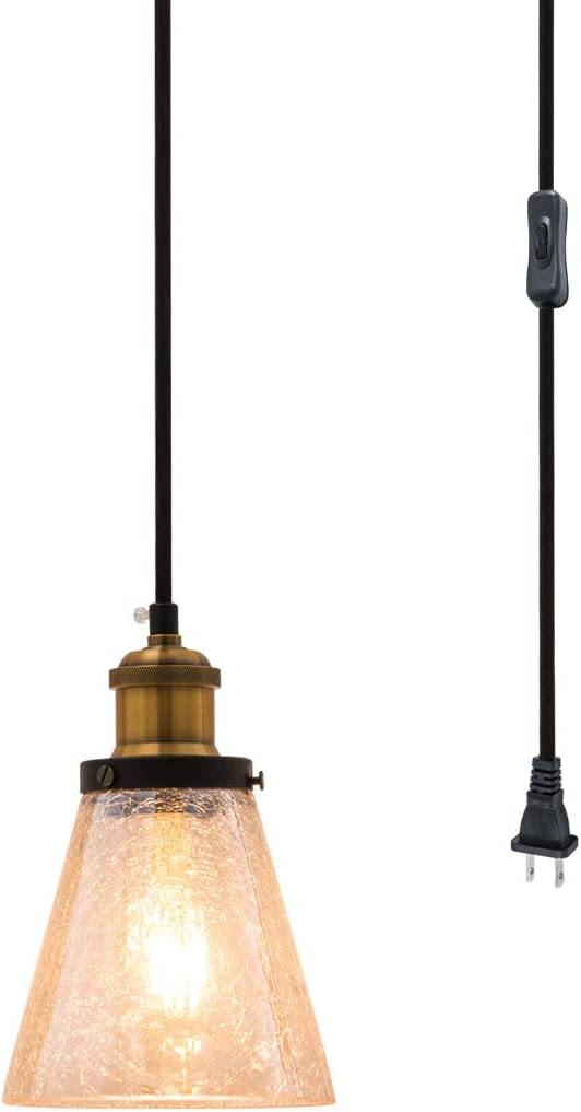 Modern Mini Pendant Light, Hand Blown Amber Crackle Glass Shade with 13Ft Plug in Cord and On Off Switch, Adjustable Vintage Edison Farmhouse Hanging Lamp for Kitchen Island Bedroom Dining Room Bar