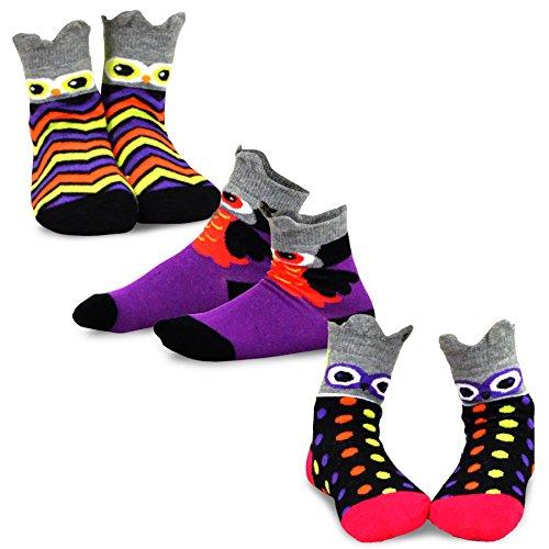 TeeHee Halloween Kids Cotton Fun Crew Socks 3-Pair Pack (6-8Y, Owl Faces) -