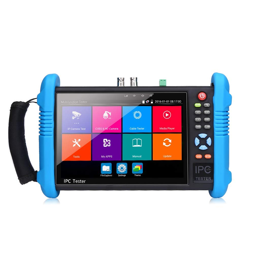 EVERSECU 7 inch IPS Touch Screen H.265 4K IP Camera Tester CCTV CVBS Analog Tester Built in WiFi with POE/WIFI/8G TF Card/HDMI Output/RJ45 TDR/Dual Window Test/Firmware CCTV Test Monitor by EVERSECU