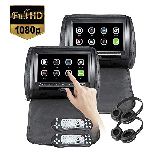 2×9 inch Touch Screen 1080P Car Headrest DVD Player Video Monitor with Leather Cover Zipper FM&IR Transmitter Games for Kids Road Trips Entertainment System 2pcs IR Headphone Included