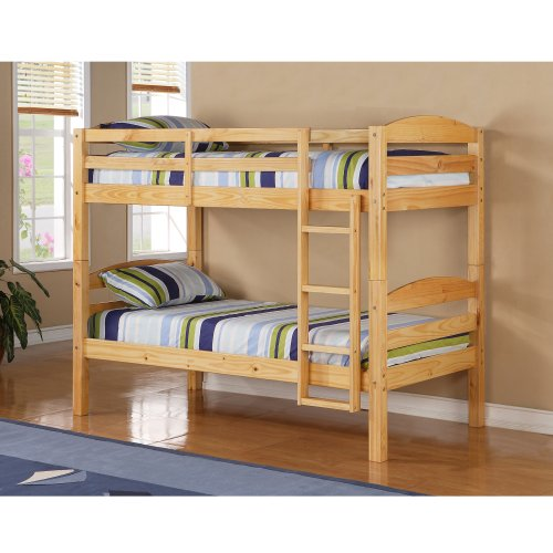 WE Furniture Twin over Twin Solid Wood Bunk Bed, Natural by WE Furniture