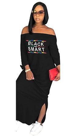 812c8d22e Womens Fashion Letter Print Off The Shoulder Long Sleeve T Shirt Maxi Dress  with Slit Black