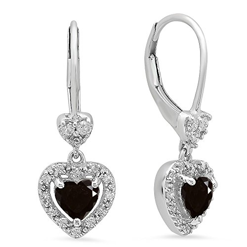Dazzling Rock 10K White Gold Heart Cut Black & Round Whit...