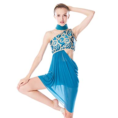 d50e665f1 MiDee Lyrical Dress 2 Pieces Dance Costumes Floral Sequins Highlow Neck  Side Waist Open Drap Skirt