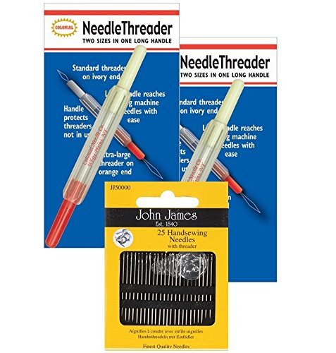 BEST VALUE 2-in-1 Needle Threader (2-PACK)+FREE hand sewing 25-needle pack COLONIAL NEEDLE