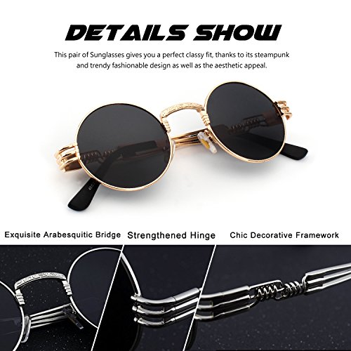 E72 retro CGID inspirées du Or Lunettes de métallique Steampunk Gris soleil en hommes rond C polarisées pour cercle style 8ddxnH